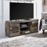 Derekson Multi Gray LG TV Stand with Fireplace Option