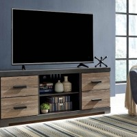 Harlinton Warm Gray LG TV Stand with Fireplace Option