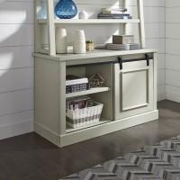 Jonileene White/Gray Home Office Tall Desk Hutch