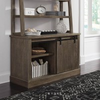 Luxenford Grayish Brown Home Office Desk Hutch