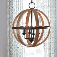 Emilano Black/Natural Wood Pendant Light (Includes 1)