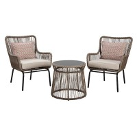 Cotton Road Brown Chairs with Cushion/Table Set (Includes 3)