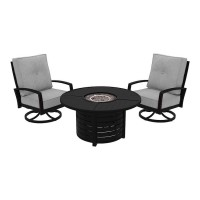 Castle Island Dark Brown Round Fire Pit Table