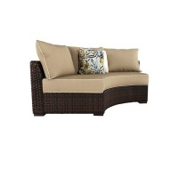 Spring Ridge Beige/Brown Curved Corner Chair with Cushion