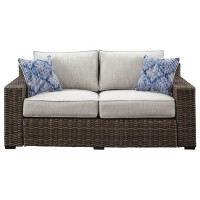 Alta Grande Beige/Brown Loveseat with Cushion