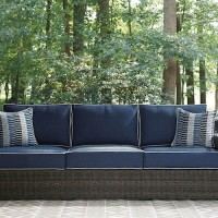 Grasson Lane Brown/Blue Sofa with Cushion