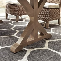 Beachcroft Beige Rectangular Dining Table with UMB OPT