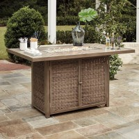 Beachcroft Beige Rectangular Bar Table with Fire Pit