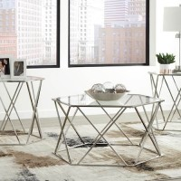 Madanere Chrome Finish Occasional Table Set (Includes 3)