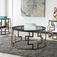 Frostine Dark Bronze Finish Occasional Table Set (Includes 3)