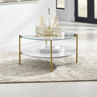 Wynora White/Gold Accent Table Set