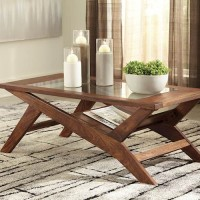 Charzine Warm Brown Rectangular Cocktail Table