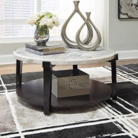 Janilly Dark Brown/White Accent Table Set
