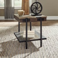 Bostweil Light Brown/Black Square End Table