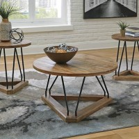 Frielone Brown/Black Occasional Table Set (Includes 3)