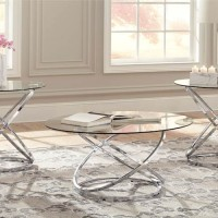 Hollynyx Chrome Finish Occasional Table Set (Includes 3)