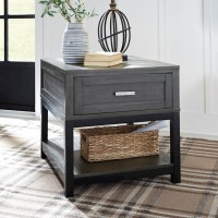 Caitbrook Gray/Black Rectangular End Table