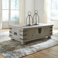 Carynhurst White Wash Gray Lift Top Cocktail Table
