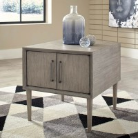Asterson Gray Rectangular End Table