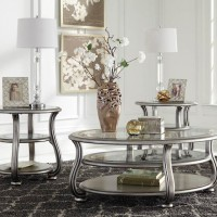 Coralayne Silver Finish Accent Table Set