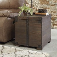 Burladen Grayish Brown Square End Table