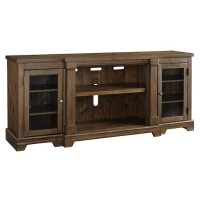 Flynnter Medium Brown XL TV Stand with Fireplace Option