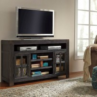 Gavelston Black LG TV Stand with Fireplace Option