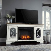 Realyn Chipped White XL TV Stand with Fireplace Option