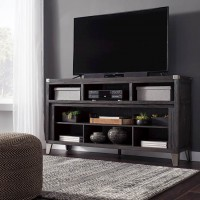 Todoe Gray LG TV Stand with Fireplace Option