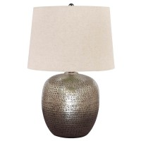 Magalie Antique Silver Finish Metal Table Lamp (Includes 1)