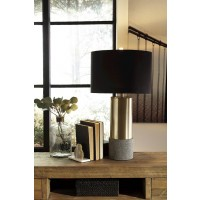 Jacek Gray/Brass Finish Metal Table Lamp (Includes 2)