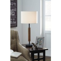 Maliny Black/Brown Wood Table Lamp (Includes 2)
