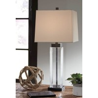 Alvaro Clear/Bronze Finish Glass Table Lamp (Includes 2)