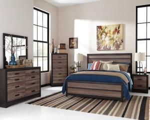 Harlinton Warm Gray/Charcoal Bedroom Set