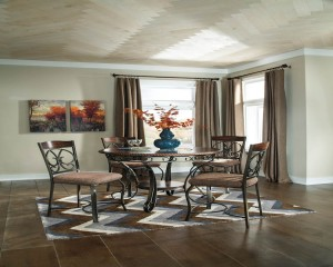 Glambrey Brown Table And (4) 24 Barstools