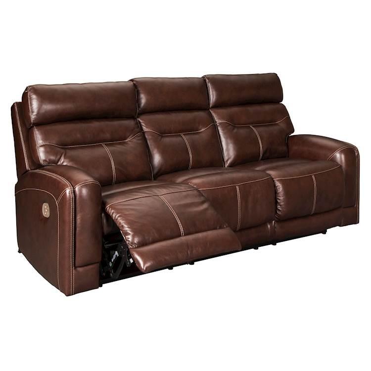 Sessom Walnut Power Recliner Sofa With Adjustable Headrest