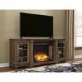 Flynnter Medium Brown XL TV Stand with Fireplace Option